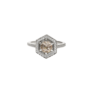 9ct White Gold Morganite Diamond Hex Ring