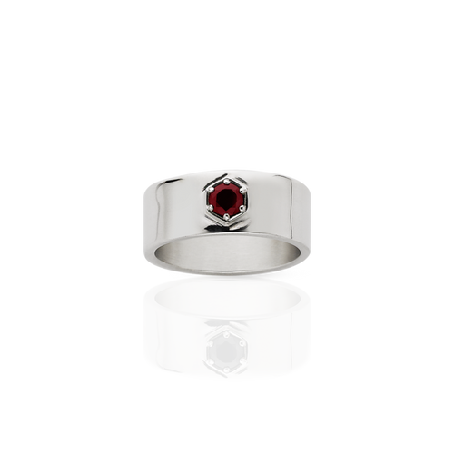 Silver Thai Garnet Hex Stone Band