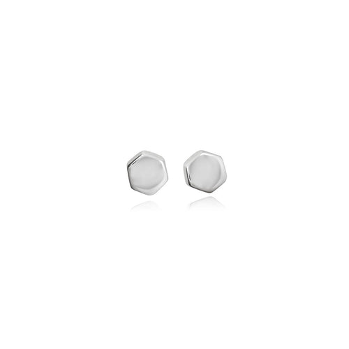 Silver Hexagon Studs