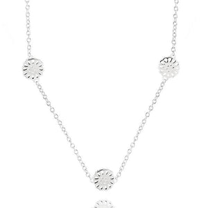 Silver Lotus Trio Necklace