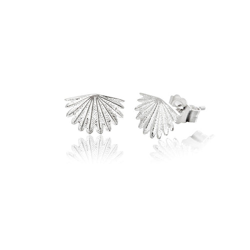 Silver Mini Fan Tail Studs