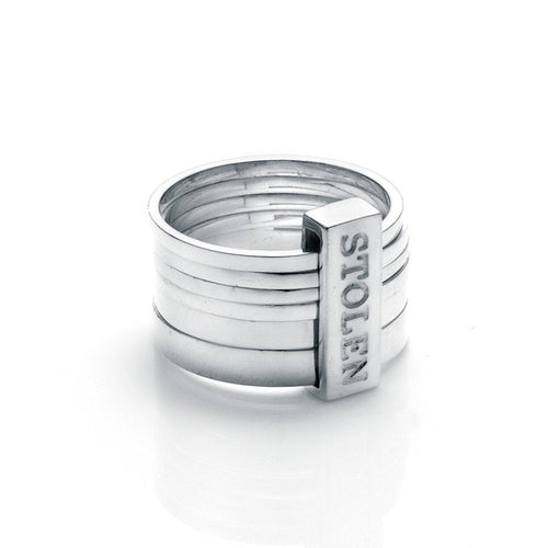 Stolen Girlfiends Club Silver Six Piece Band Ring