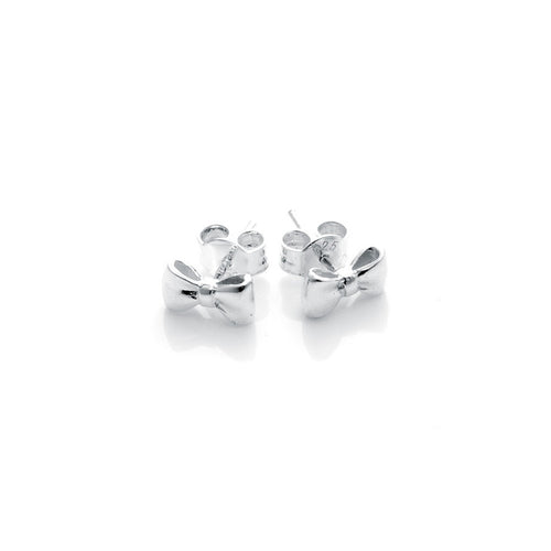 Silver Baby Bow Studs