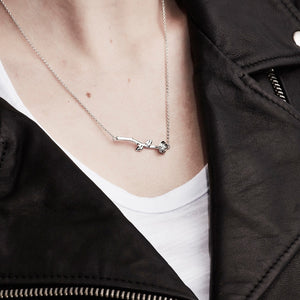Silver Rose Bar Necklace