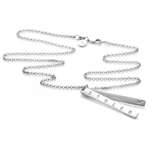 Silver Stolen Bar Necklace