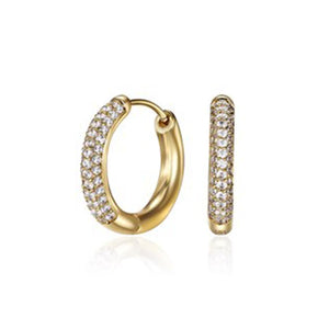 18ct Gold Plated Luxe Huggies Med Hoops