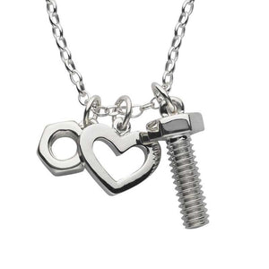 Silver Nut, Bolt & Heart Charm