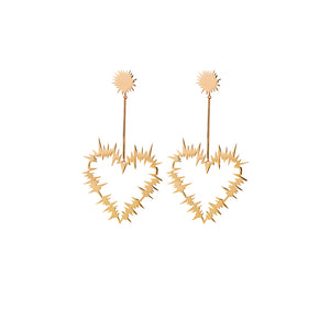 Gold Plated Electric Heart Drop Earrings