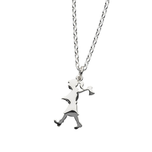 Silver Girl With Axe Necklace