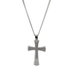 Mens Stainless Steel Thick Cross Necklace