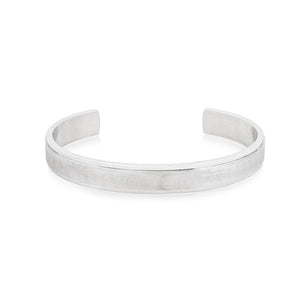 Mens Stainless Steel Matte Bangle with CZ