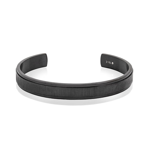 Mens Stainless Steel Matte Black Bangle with CZ