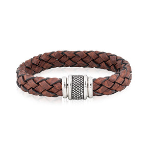 Mens Brown Woven Leather Bracelet