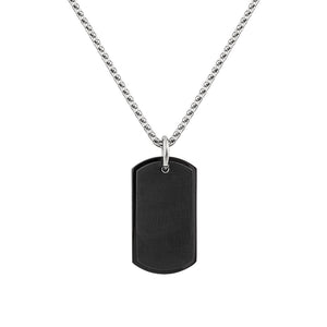 Mens Stainless Steel Matt Black Oblong Necklace