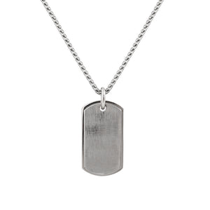 Mens Stainless Steel Matt Finish Oblong Necklace