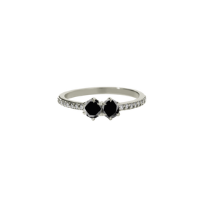 9ct White Gold Black Diamond Luna Ring TDW=.50ct