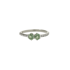 9ct White Gold .50ct Green Sapphire Diamond Luna Ring