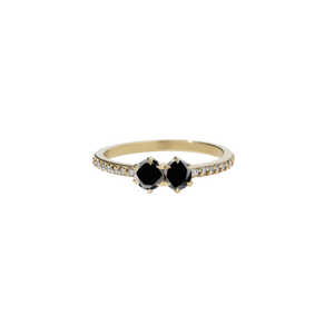 9ct Yellow Gold Black Diamond Luna Ring TDW=.50ct