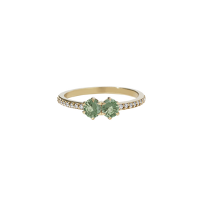 9ct Yellow Gold .50ct Green Sapphire Diamond Luna Ring