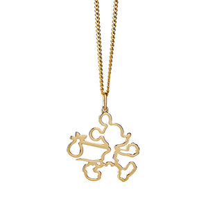 Gold Runaway Mickey Outline Necklace
