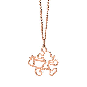 9ct Rose Gold Runaway Mickey Outline Necklace