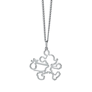 Silver Runaway Mickey Outline Necklace