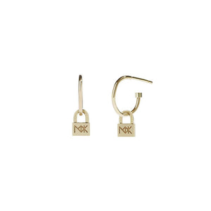 Gold Plate Micro Lock Signature Hoop - Pair