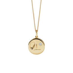 Gold Plate White Dia Miro Necklace
