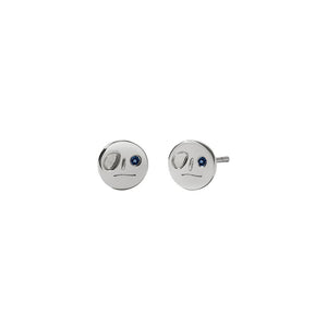 Sterling Silver Blue Sapphire Miro Stud Earrings