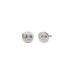Sterling Silver Pink Sapphire Miro Stud Earrings