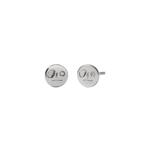 Sterling Silver White Dia Miro Stud Earrings
