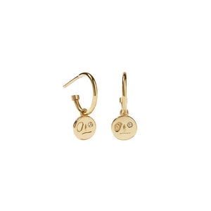 9ct Yellow Gold White Dia Miro Signature Hoops