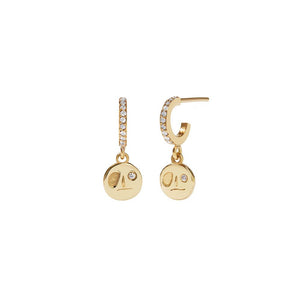 9ct Yellow Gold White Dia Miro Pave Hoops