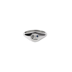 Sterling Silver Blue Sapphire Miro Signet Ring