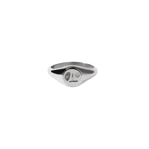 Sterling Silver White Dia Miro Signet Ring