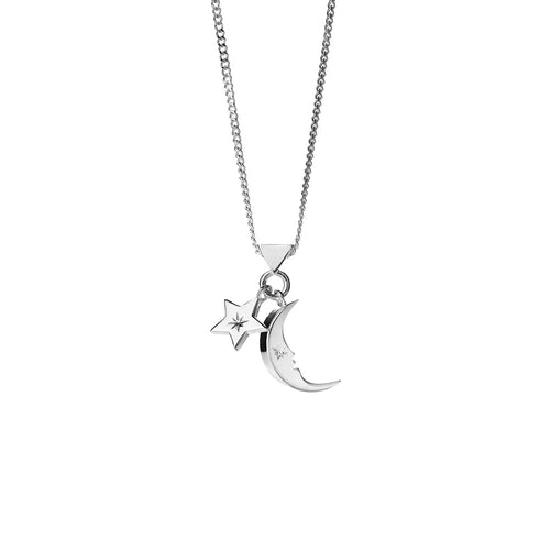 Silver Moon and Star Charm Necklace