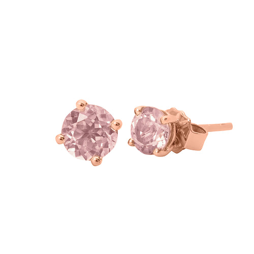 9ct Rose Gold Morganite Stud Earring Round