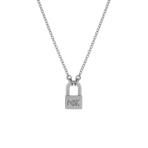 Silver Lock Med Necklace