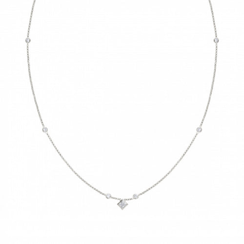 Silver Bella Princess Cut with Cubic Zirconia Necklace