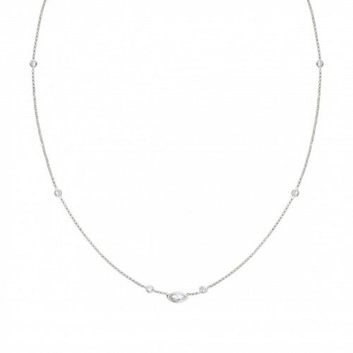 Silver Bella Shuttles with Cubic Zirconia Necklace