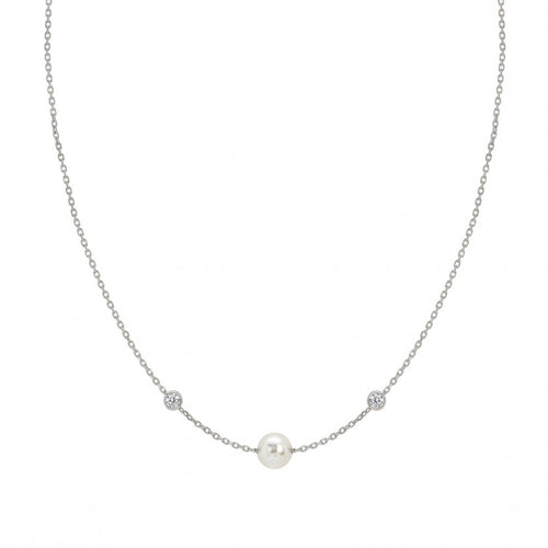 Silver Bella Pearl and Cubic Zirconia Necklace