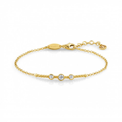 24ct Gold Plated Bella Circles with Cubic Zirconia Bracelet