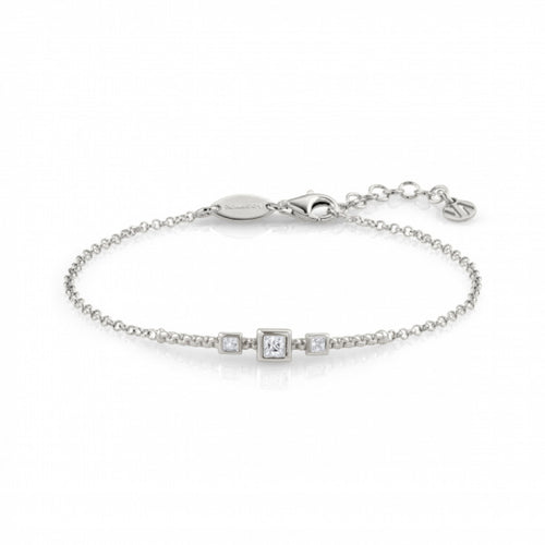 Silver Bella Squares with Cubic Zirconia Bracelet