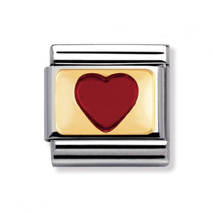 Stainless Steel Enamel and 18ct Gold Red Heart Link
