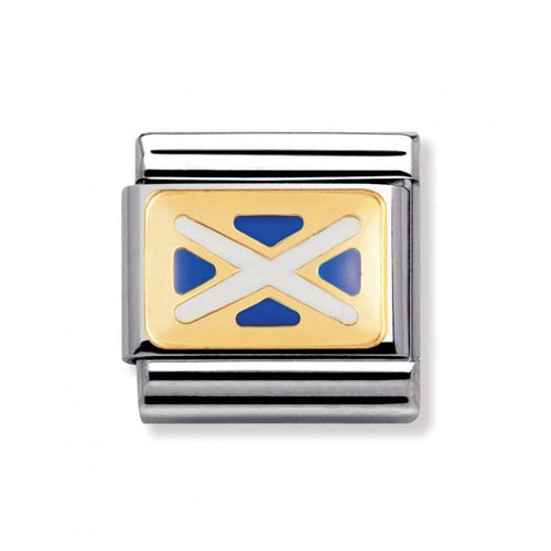 Stainless Steel Enamel 18ct Gold Scotland Flag Link