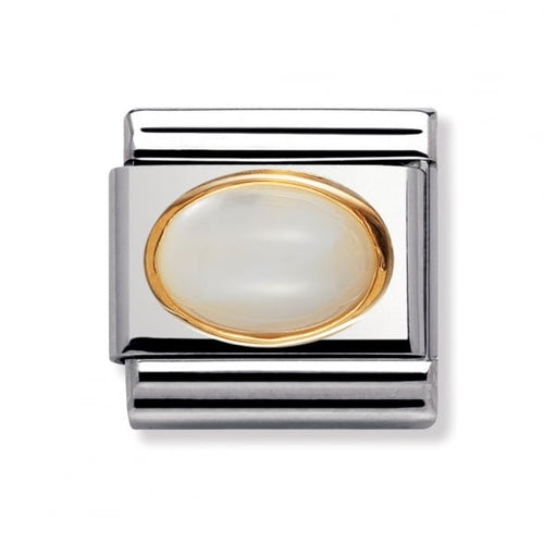 Stainless Steel and 18ct Gold Mother of Pearl Link