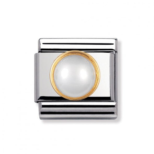 Stainless Steel and 18ct Gold White Pearl with Cubic Zirconia Link