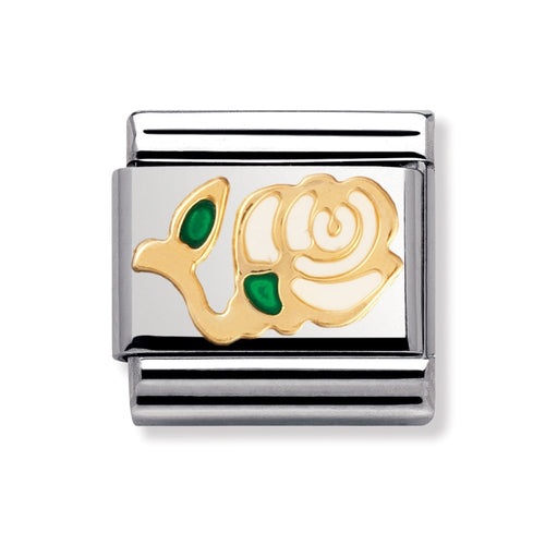 Stainless Steel Enamel and 18ct Gold White Rose Link