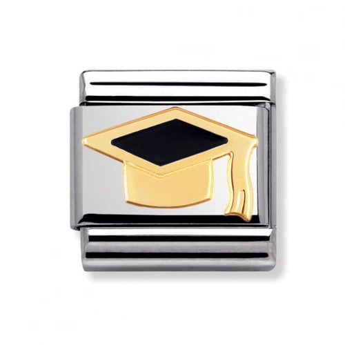 Stainless Steel Enamel and 18ct Gold Graduation Cap Link