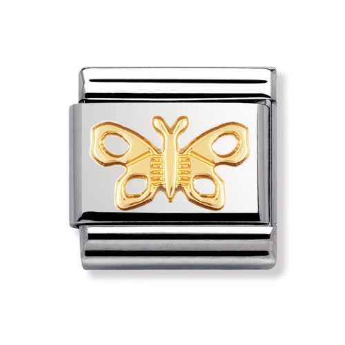 Stainless Steel and 18ct Gold Butterfly Link
